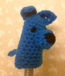 Blue dog crocheted finger puppet